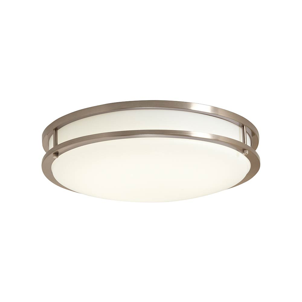 LED 14 in. 3000K Brushed Nickel/White Low Profile Ceiling Flushmount