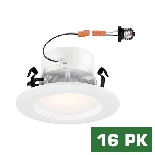 Standard Retrofit 4 in. 5000K White Trim Day 92 CRI LED Ceiling Recessed Light (16-Pack)