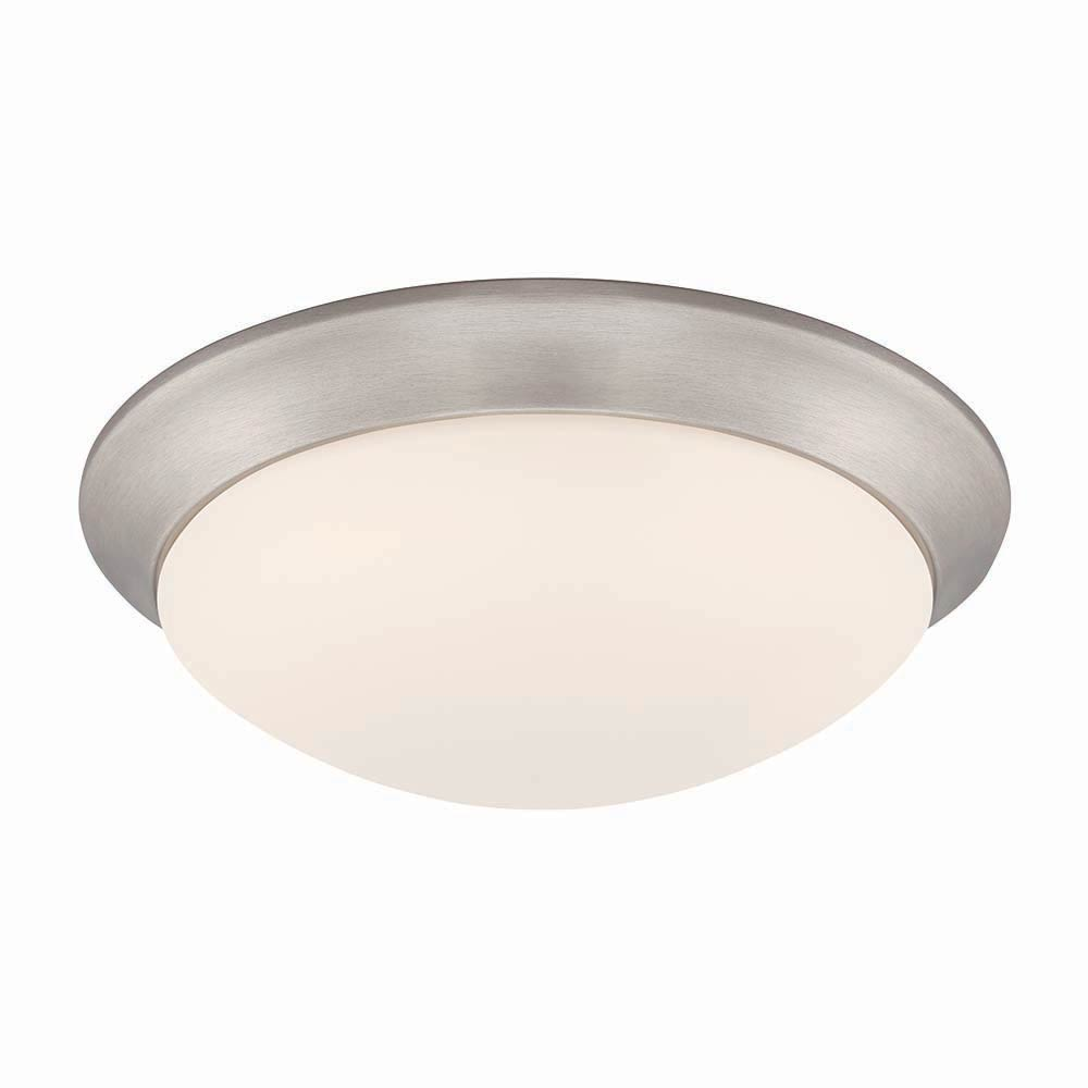 LED 11 in. Brushed Nickel Ceiling Flushmount with Frosted White Glass