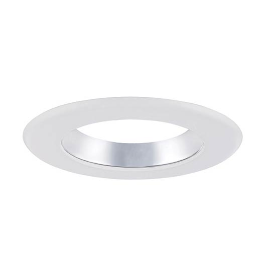 6 in. Decorative Specular Clear Cone on White Trim Ring for LED Recessed Light with Magnetic Trim Ring