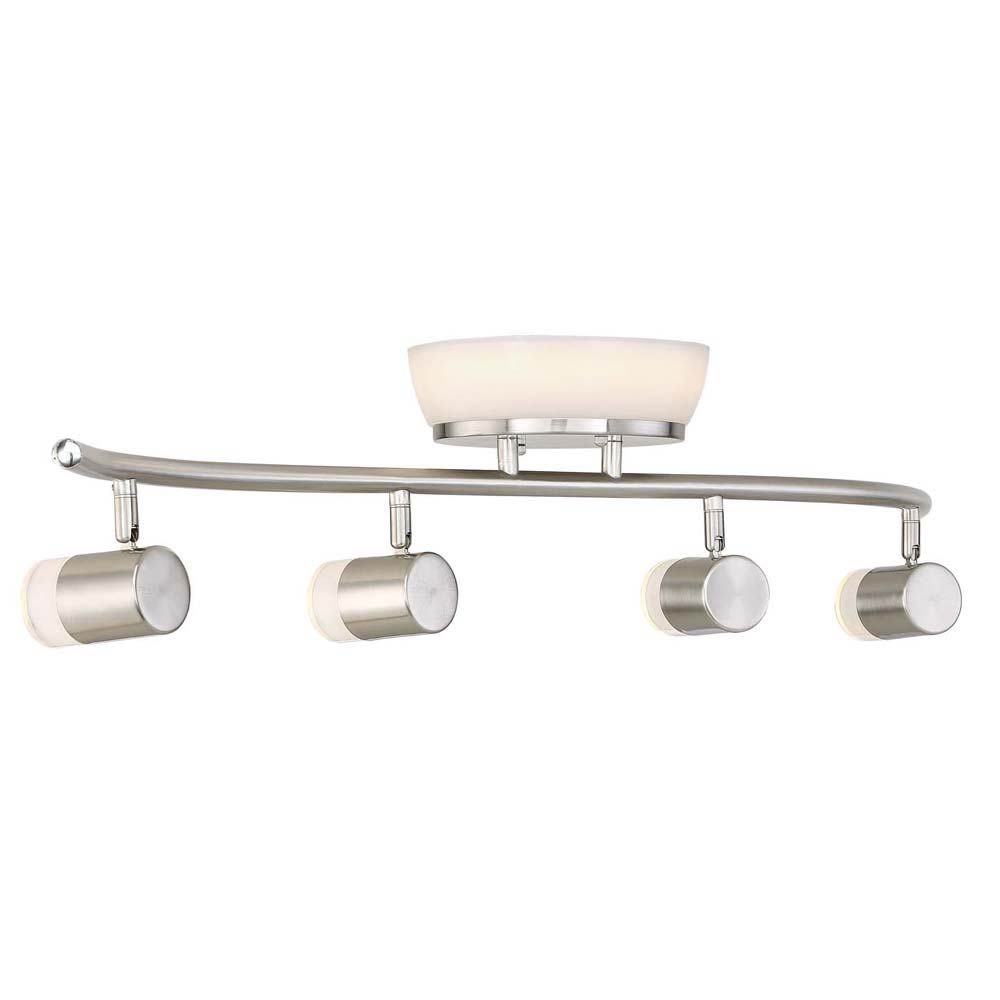 envirolite - brushed nickel led ceiling mounted flushmount and track combo with frostedshades